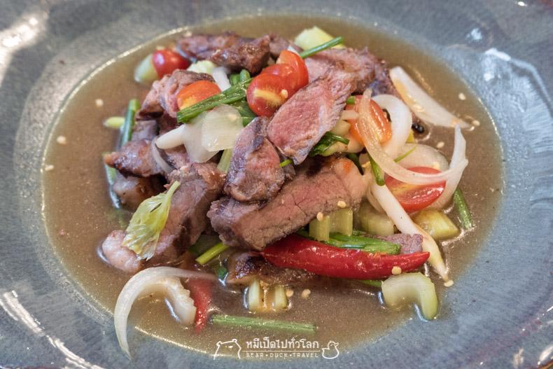 รีวิว ร้านอาหาร อาหารไทย กรุงเทพ ราชประสงค์ ยำเนื้อย่าง
