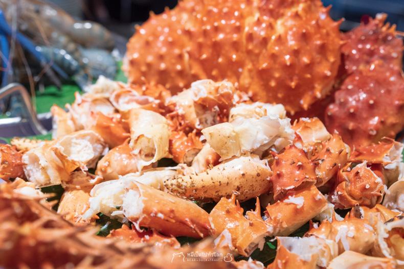 รีวิว อาหาร บุฟเฟ่ต์ ทะเล ซีฟู้ด ปูยักษ์