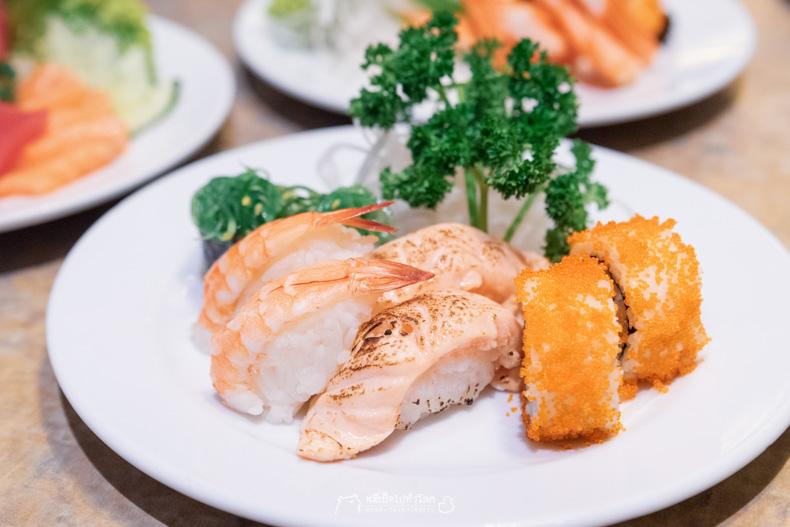 รีวิว อาหาร บุฟเฟ่ต์ ทะเล ซีฟู้ด ปลาดิบ แซลมอน ทูน่า ซูชิ อาหารญี่ปุ่น